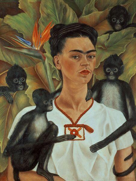 f Frida Kahlo - autorretrato con monos - 1943